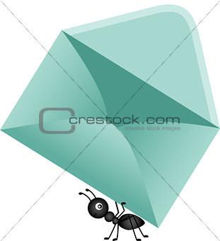 Ant carrying a envelope