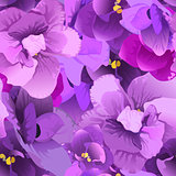 Flower violet seamless pattern
