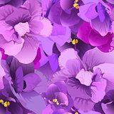 Flower violet seamless pattern