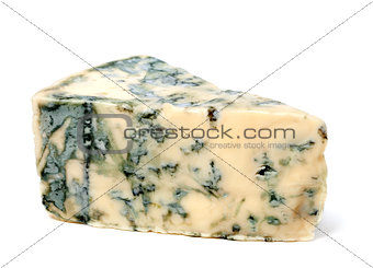 Blue cheese on white background