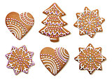 Decorated Christmas gingerbread cookies isolated