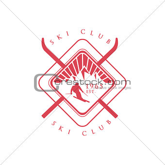 Ski Club Red Emblem Design
