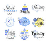Beauty And Spa Promo Signs Colorful Set
