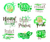 Healthy Bio Food Promo Signs Colorful Set
