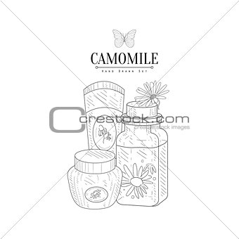 Camomile Natural Cosmetics Hand Drawn Realistic Sketch
