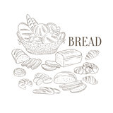 Bread Basket And Other Bakery Products Hand Drawn Realistic Sketch
