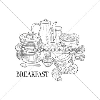 Breakfast Traditional Food And Drink Hand Drawn Realistic Sketch