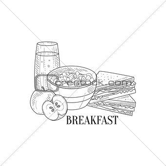 Breakfast With Porridge, Sandwich And Juice Hand Drawn Realistic Sketch