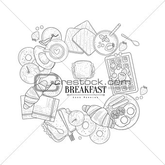 Breakfast Food Framing The Text Hand Drawn Realistic Sketch