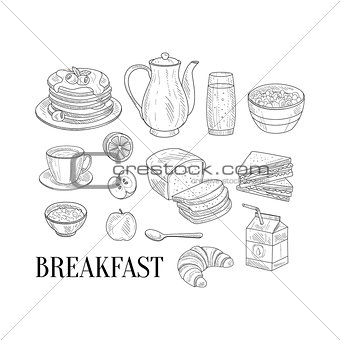 Breakfast Related Isoated Food Items Hand Drawn Realistic Sketch