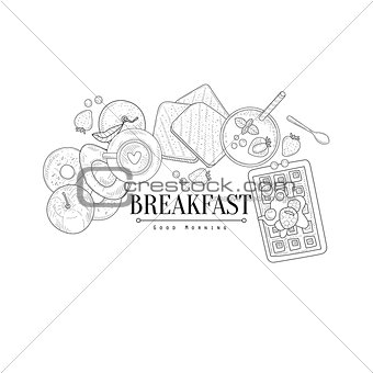 Breakfast With Waffle And Avocado Hand Drawn Realistic Sketch
