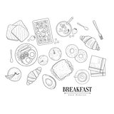 Breakfast Food Isolated Drawings Set Hand Drawn Realistic Sketch