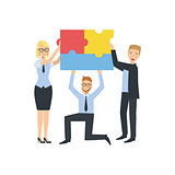 Managers Holding Connected Pieces Of Puzzle Teamwork Illustration