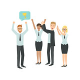 Manager Sharing Good News With Cheering Colleagues Teamwork Illustration