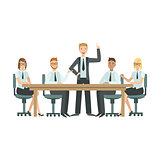 Managers Sitting On Meeting Teamwork Illustration