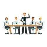 Managers Sitting On Meeting Teamwork Illustration