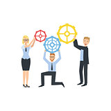 Managers Holding Connecting Gears Teamwork Illustration