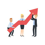 Managers Holing Arrow Showing Growth Teamwork Illustration