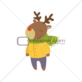 Boy Deer In Yellow Warm Coat Childish Illustration