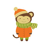 Monkey In Orange Warm Coat Childish Illustration