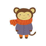 Monley In Blue Warm Coat Childish Illustration