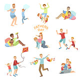 Fathers Day Illustration Set Of Dads Playing With Kids