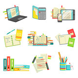 Education And Studies Related Illustrations Set