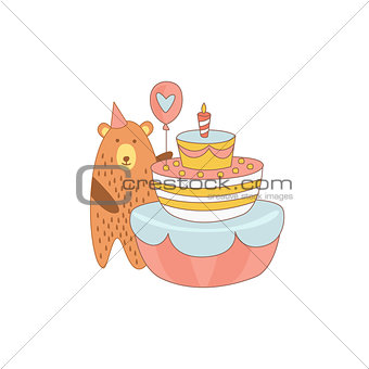Bear And A Giant Birthday Cake