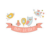 Birds On Happy Birthday Party Banner