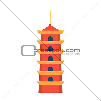 Classic Chinese Tower In Hong Kong Simplified Icon
