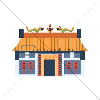 Classic Chinese House With Dragons On The Roof Simplified Icon