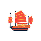 Chines Junk Boat With Red Sail Simplified Icon