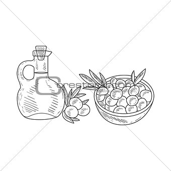 Olives And Jug Of Olive Oil Hand Drawn Realistic Sketch