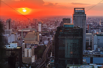 Skyline of Bangkok at sunset