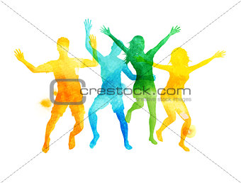 Watercolour Jumping Friends In Summer Vector