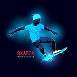 Neon Skater Vector
