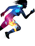 Double Exposure Running Woman
