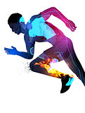 Double Exposure Running Man