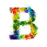 Color Paint Splashes. Gradient Vector Font. Watercolor Designer Decoration Alphabet. Ink Symbols Isolated on a White Background. Letter B
