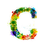 Color Paint Splashes. Gradient Vector Font. Watercolor Designer Decoration Alphabet. Ink Symbols Isolated on a White Background. Letter C