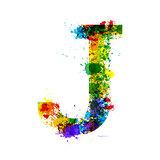 Color Paint Splashes. Gradient Vector Font. Watercolor Designer Decoration Alphabet. Ink Symbols Isolated on a White Background. Letter J