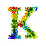 Color Paint Splashes. Gradient Vector Font. Watercolor Designer Decoration Alphabet. Ink Symbols Isolated on a White Background. Letter K