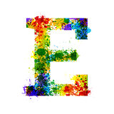 Color Paint Splashes. Gradient Vector Font. Watercolor Designer Decoration Alphabet. Ink Symbols Isolated on a White Background. Letter E