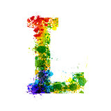 Color Paint Splashes. Gradient Vector Font. Watercolor Designer Decoration Alphabet. Ink Symbols Isolated on a White Background. Letter L