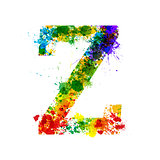 Color Paint Splashes. Gradient Vector Font. Watercolor Designer Decoration Alphabet. Ink Symbols Isolated on a White Background. Letter Z