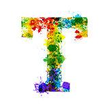 Color Paint Splashes. Gradient Vector Font. Watercolor Designer Decoration Alphabet. Ink Symbols Isolated on a White Background. Letter T