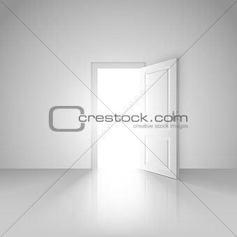 Clear white room with opened door to the new world