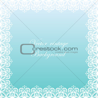 Abstract square lace frame with paper swirls