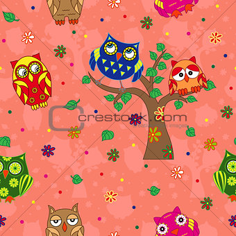 Amusing owls seamless pattern over terracotta