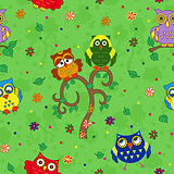 Funny colourful owl seamless pattern over green